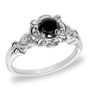 Cambridge Sterling Silver 3/4ct TDW Vintage Inspired Black Diamond Ring