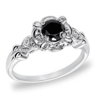 Cambridge Sterling Silver 3/4ct TDW Vintage Inspired Black Diamond Ring