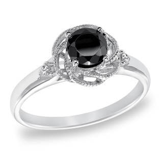 Cambridge Sterling Silver 3/4ct TDW Swirl Black Diamond Ring