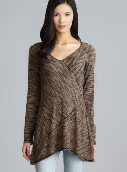 Max Studio V-Neck Asymmetrical Panel Long Top
