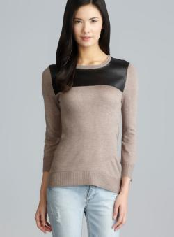 Spense Tan Heather Faux Leather Knit Pullover