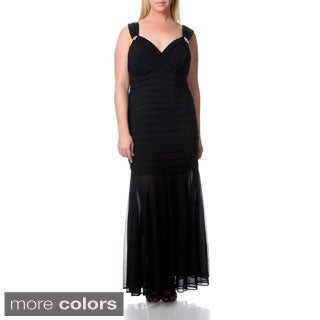 R & M Richards Women's Plus Size Long Sleeveless Jersey Dress