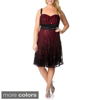 R & M Richards Women's Plus Size Sleeveless Sequin Lace Dress
