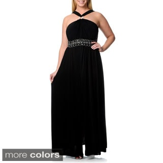 R & M Richards Women's Plus Size V-Strap Long Jersey Dress