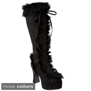 Funtasma Mammoth Women's 4-inch Chunky Heel with Faux Fur Platform Lace-up Knee High Boots