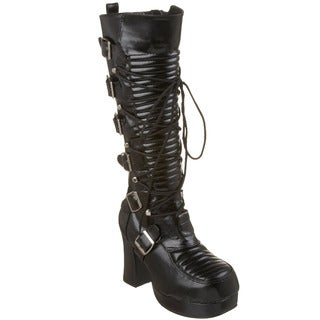 Demonia Women's 'Gothika-200' Black Lace-up Knee-high Boots