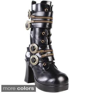 Demonia Women's 'Gothika-100' Black Platform Steampunk Mid-calf Boots