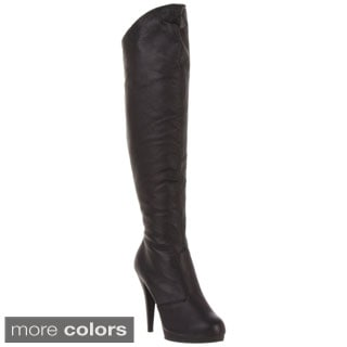 Pleaser Women's 'Flair-2010' Leather Knee-high Stiletto Boots
