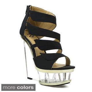 Fahrenheit Women's 'Naya-05' Suedette Lucite Wedge Heels