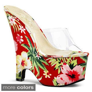 Pleaser Women's 'Beau-601FP' Floral 6.5-inch Wedge Sandals