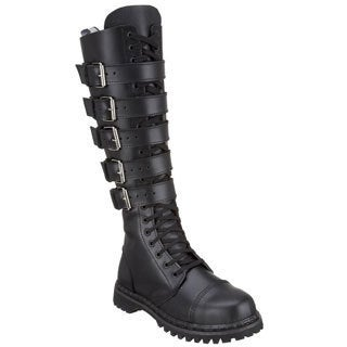 Demonia Men's 'Gravel-20' Leather 5-buckle Straps Knee-high Boots