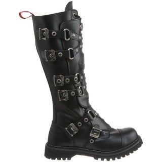 Demonia Men's 'Gravel-22' 6-buckle Lace-up Knee High Combat Boots