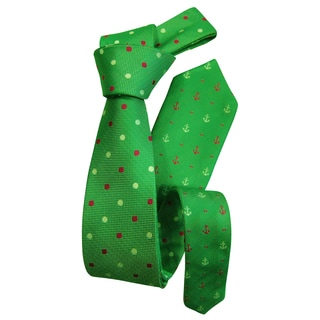 Dmitry Green Men's Patterned Double-sided Italian Silk Tie
