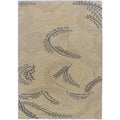Prestige Cafe Au Lait Light Cream Abstract Shag Rug (5'5 x 7'8)