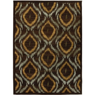Ikat Chocolate Dark Brown Abstract Area Rug (5'5 x 7'8)