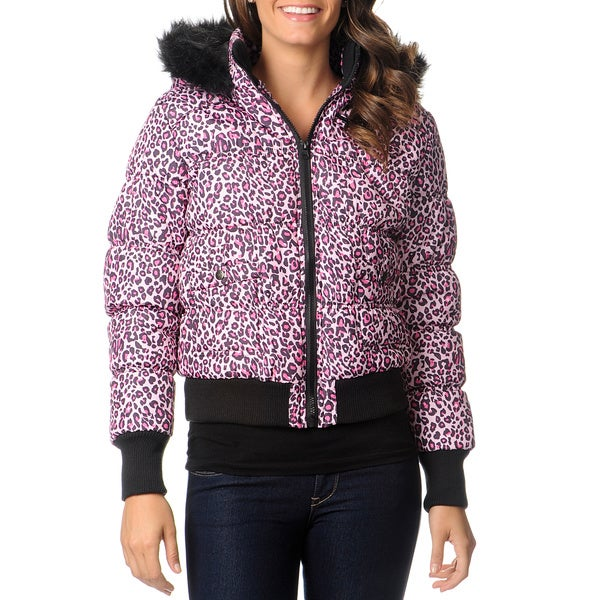 Coffee Shop Juniors' Leopard Puffer Coat