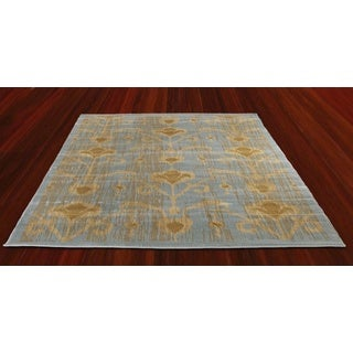 Ikat Turquoise Light Blue Abstract Area Rug (5'5 x 7'8)
