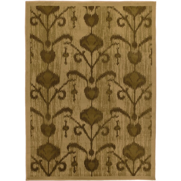 Ikat Cappuccino Light Brown Abstract Area Rug (5'5 x 7'8)