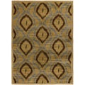 Ikat Caramel Light Brown Abstract Area Rug (5'5 x 7'8)