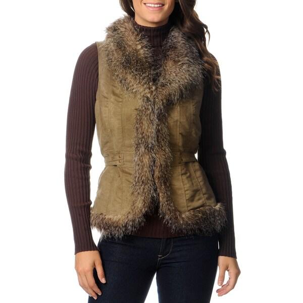 CoffeeShop Juniors' Faux Fur Trim Vest