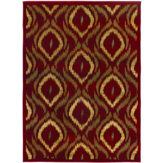 Ikat Fuschia Red Abstract Area Rug (5'5 x 7'8)