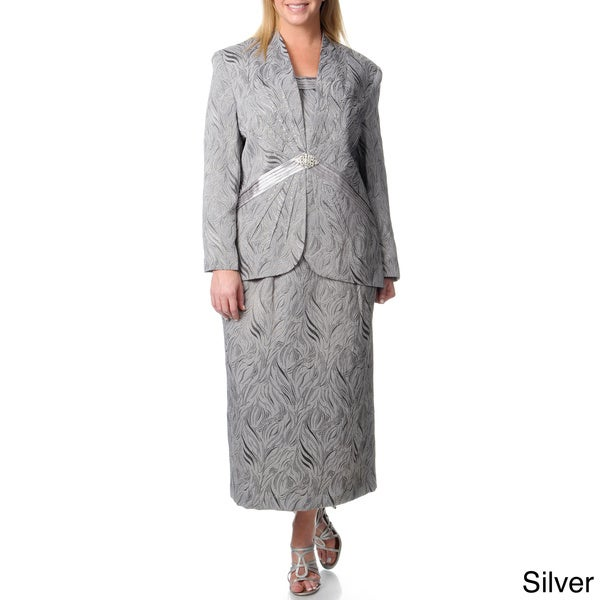 Giovanna Signature Women's Plus Printed Rhinestone Embellished Skirt Suit