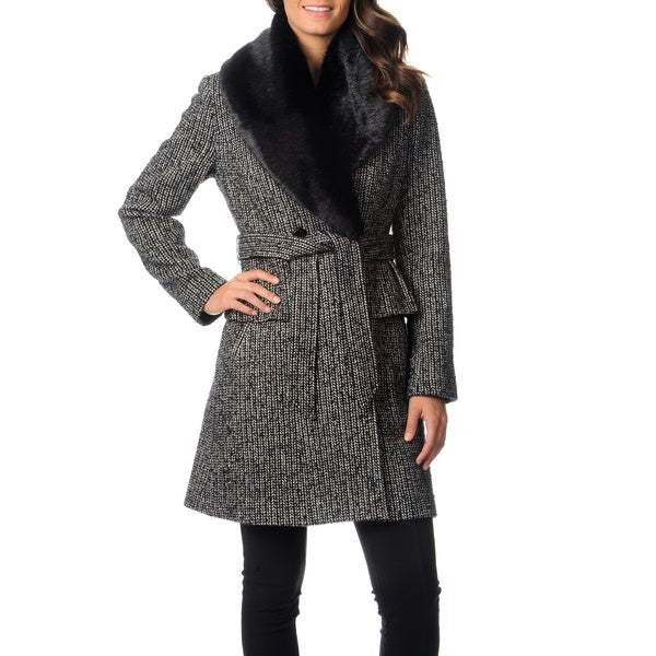 Ivanka Trump Women's Novelty Wool Peplum Coat