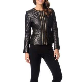 Vince Camuto Women's Chain Link Trim Leather Jacket