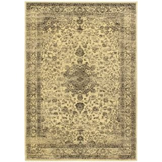 Classic Flora Cream Medallion Corners Area Rug (5'5 x 7'9)