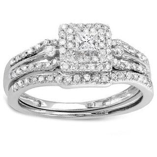 14k White Gold 0.5ct TDW Mixed Cut Diamond Bridal Set