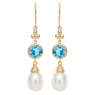 Pearlyta 14k Gold White FW Pearl and Blue Topaz Earrings (8-9 mm) with Gift Box