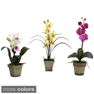 Nearly Natural Potted Orchid Mix Decorative Plants (Set of 3)