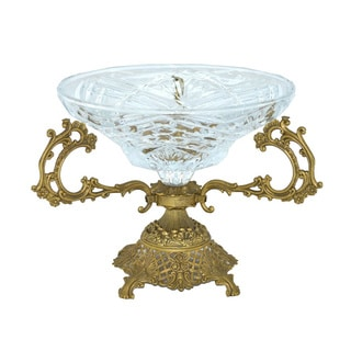 12-inch Clear RoundCrystal Dish on Gold Base
