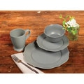 TTU Gallery 'Chateau' 16-piece Grey Matte Finish Round Dinnerware Set