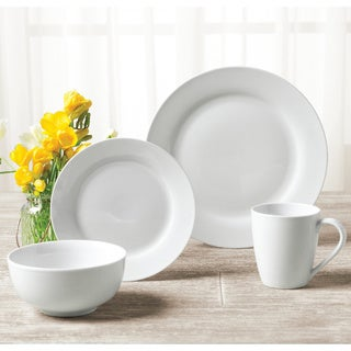 TTU Gallery 'Umbria' 16-piece White Round Dinnerware Set