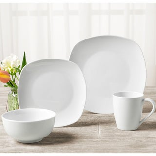 TTU Gallery 'Veneto' 16-piece White Square Dinnerware Set