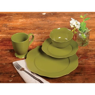 TTU Gallery 'Chateau' 16-piece Green Matte Finish Round Dinnerware Set