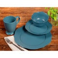 TTU Gallery 'Chateau' 16-piece Teal Matte Finish Round Dinnerware Set