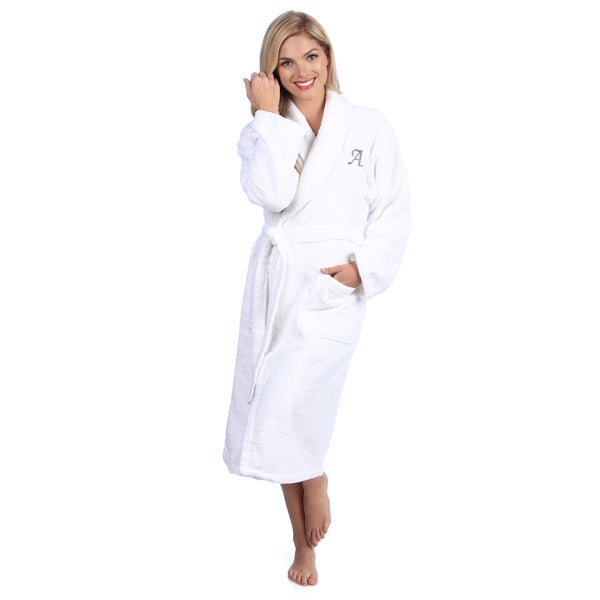Authentic Hotel and Spa Grey Monogrammed Turkish Cotton Unisex Terry Bath Robe