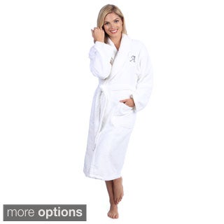 Authentic Hotel and Spa White with Grey MonogramTurkish Cotton Unisex Terry Bath Robe