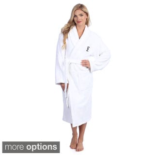 Authentic Hotel and Spa Black Monogrammed Turkish Cotton Unisex Terry Bathrobe