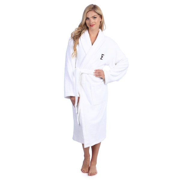 Authentic Hotel and Spa White With Black Monogram Turkish Cotton Unisex Terry Bath Robe