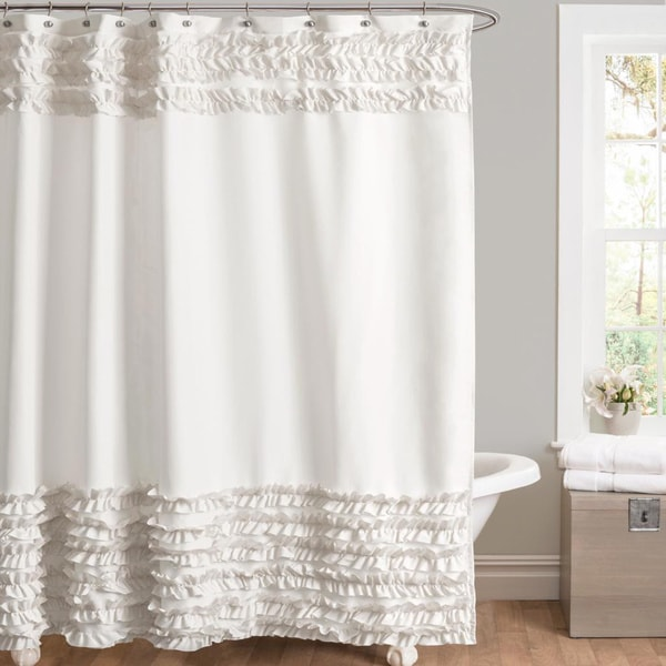 Lush Decor Skye White Shower Curtain