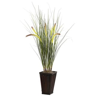 Grass w/Cattails and Bamboo Planter