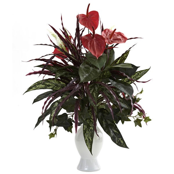 Anthurium w/Mixed Greens and White Vase