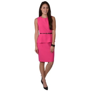 Calvin Klein Women's Belted Sleeveless Peplum Dress