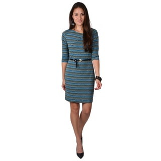 Calvin Klein Women's Blue Patterned Belted Dress