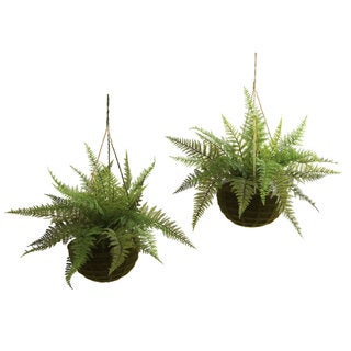 Indoor/ Outdoor Leather Fern and Planter Set (Set of 2)