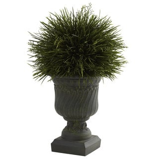 Indoor/ Outdoor Potted Grass and Decorative Urn