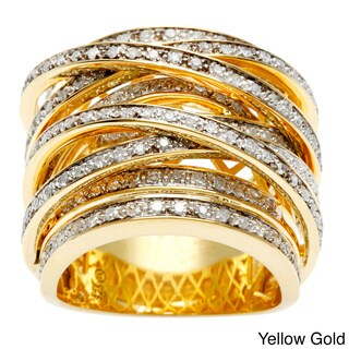 Beverly Hills Charm 14k Gold Overlay 1ct TDW Diamond Crossover Ring